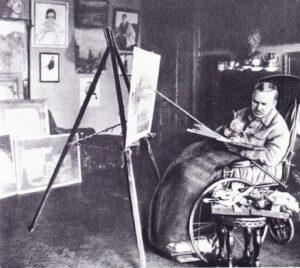 Б.Кустодиев в своей мастерской