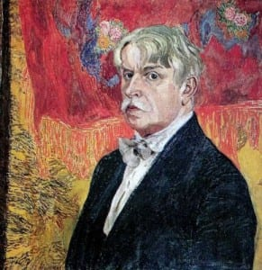 А.Головин. Автопортрет на фоне красного платка. 1919