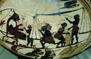 Взвешивание сильфия. «Ваза Аркесилая» из Вульчи. Ок. 560 г. до н.э. Национальная библиотека, Париж