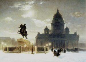 В.Суриков. Вид памятника Петру I на Сенатской площади в Петербурге. 1870
