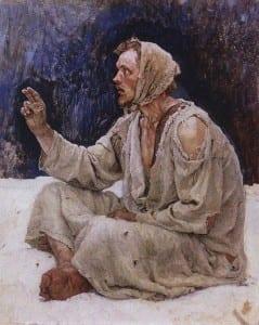 В.Суриков. Юродивый, сидящий на снегу