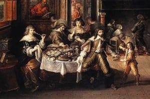 Франц Франкен II. Ужин в доме бургомистра. XVII век.