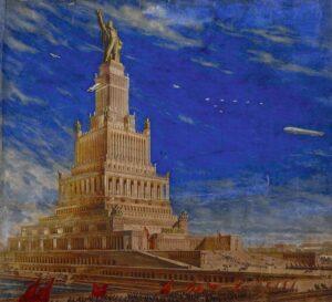 Дворец Советов высотой 420 метров, который по проекту советского правительства должен был занять место Храма Христа Спасителя