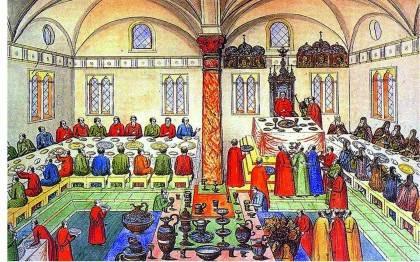 Пир в Грановитой палате гравюра XVII в