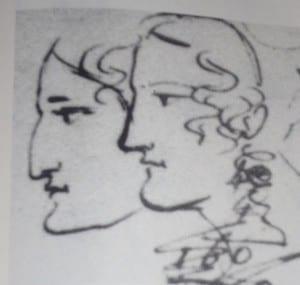 Каролина Собаньская и Амалия Ризнич. Рисунок Пушкина