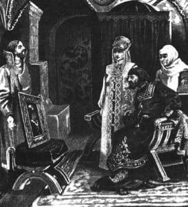 В.Муйжель. Посол Иван Фрязин вручает Ивану III портрет его невесты Софьи Палеолог. 1910