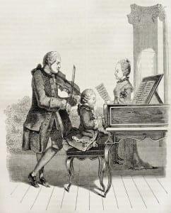 Моцарт с отцом и сестрой в 1763 г. Старинная   иллюстрация, Париж