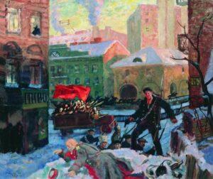Б.Кустодиев. Октябрь в Петрограде. 1927