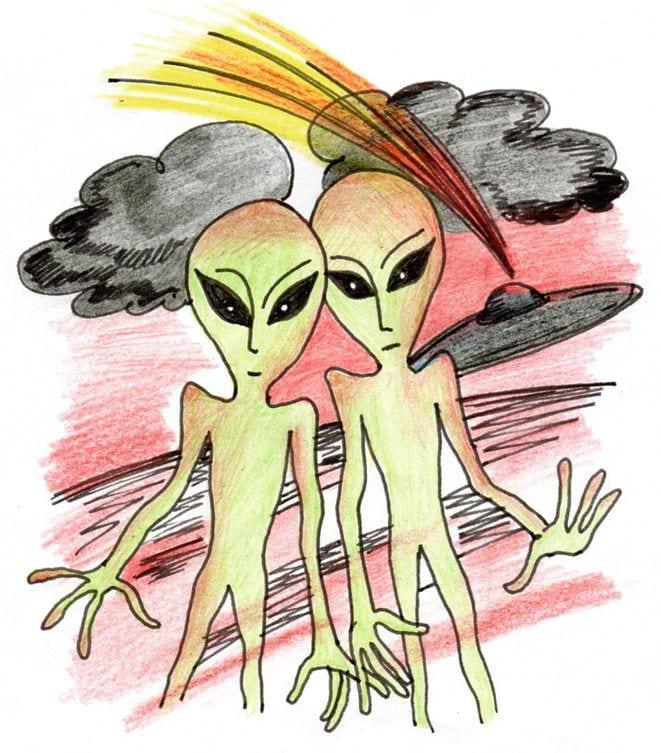 Рисунок мой друг инопланетянин доме чтоб