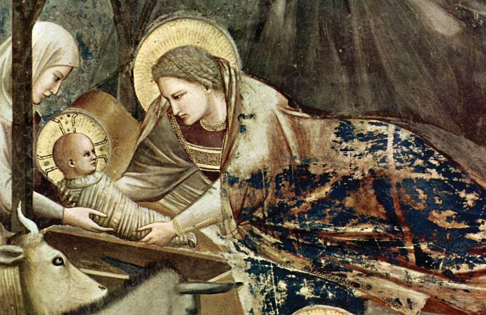 Рождество Иисуса. Художник Джотто. Ок. 1310 г. Фрагмент фрески Нижней церкви Сан-Франческо в Ассизи1