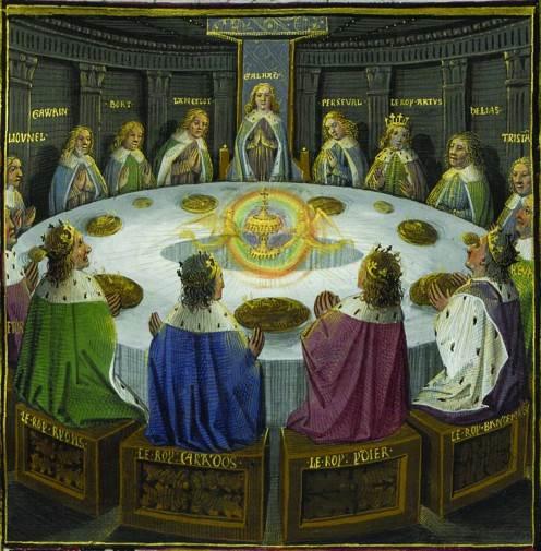 Рыцари короля Артура за круглым столом празднуют день Святой Троицы. Иллюстрация из манускрипта XV века «Ланселот и Святой Грааль»