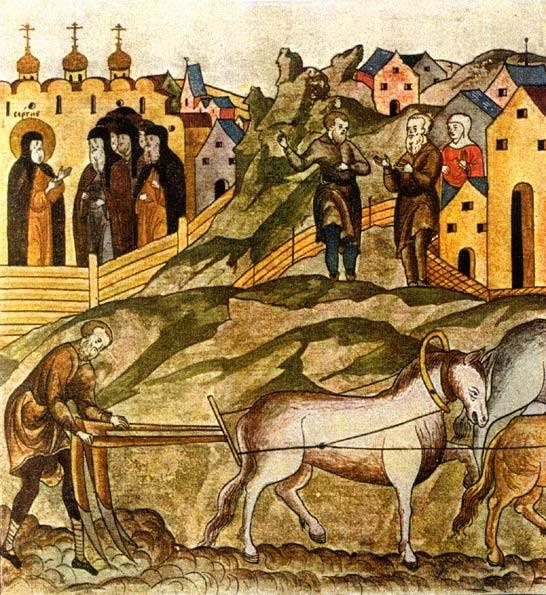 Работа на пашне перед Троице-Сергиевым монастырем. Миниатюра. XVI в.